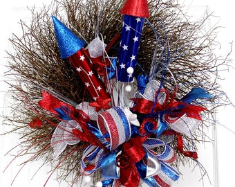 Fourth of july wreath for front door, patriotic decorations, fire creackers, Summer Wreath, Red White blue deco mesh
