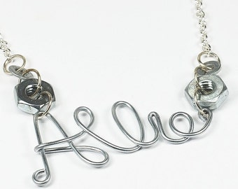 Personalized Jewelry- Wire Name Necklace, Upcycled Silver Hardware Jewelry, Word Jewelry, Custom Name Necklace by Tanith Rohe