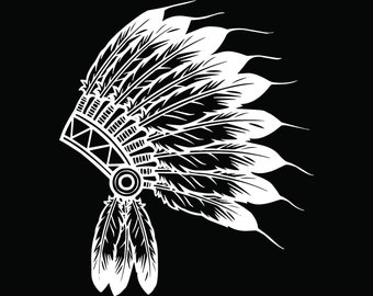 Indian Headdress #5 Native American Head Dress Tribe Chief Costume Ornate Feather Tattoo Logo .SVG .EPS .PNG Vector Cricut Cut Cutting File