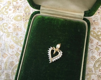 Sweet Little 10K Gold and Diamond Heart Shaped Pendant