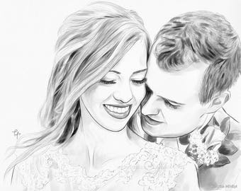 CUSTOM COUPLE PORTRAIT from Photo, Semi Realistic Sketch, Personalized Couple Painting, Custom Wedding Anniversary Gift for Her