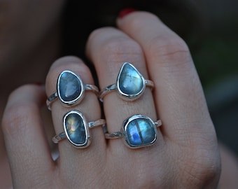 Moonstone Ring, Rainbow Moonstone Ring, Moonstone, Sterling Silver, Stacking Ring, Blue Moonstone, Rainbow Moonstone, Sterling Stacking Ring