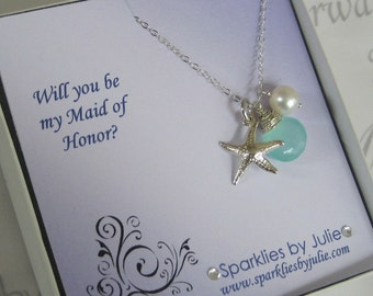 Will You Be My Maid of Honor, Fancy Bridal Invitation with Ocean Necklace, Thank You Gift Cards, Maid or Matron of Honor, Bridesmaid