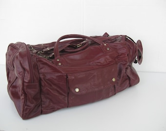 Leather Duffel Bag, Large Maroon Gym Bag, Overnighter with Shoulder Strap, Carry On, Vintage Luggage, Suitcase, Made in Mexico