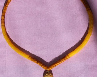 Carved Bone Cat Two-Tone Yellow and Gold Amber Necklace