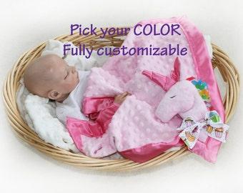 Unicorn Security Blanket, unicorn baby blanket pink unicorn Lovey Blanket, rainbow unicorn, Satin, Baby Blanket, Stuffed Animal, Baby Toy