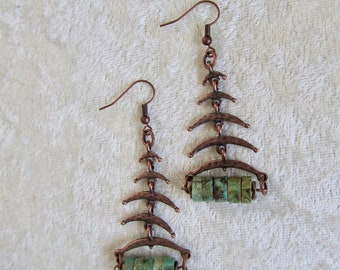 Tribal copper and genuine turquoise dangle earrings