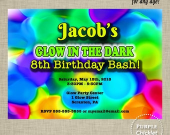 Glow in the Dark Birthday Party Invitation Art Party Neon Glow Party Invite Blacklight Kid Party Printable Invite JPEG file 260b