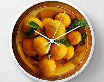 Fruit wall clock, yellow lemons clock, cottage kitchen food art, lemons in bowl clock, warm tones home decor, foodie fruit print