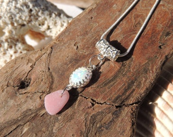 White Synthetic Fire Opal and Pink Sea Glass Sterling Silver Necklace, Authentic Sea Glass