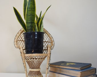 Vintage Small Rattan Chair / Retro / Antique / Plant Holder / Stand / Hipster / Hippie / Mid Century / MCM / Home Decor / Decorative