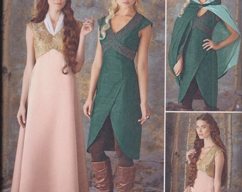 Simplicity 1008 Misses Women's Game of Thrones Medieval Costume Dress Cape UNCUT Sewing Pattern