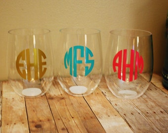 Monogrammed Acrylic Stemless Wine Glass, Acrylic Wine Glass, Acrylic Stemless, Personalized Stemless Wine Glass