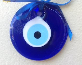 Evil Eye wall hanging, eye charm, good luck charm, nazar, talisman, Greek, Turkish, coastal, home decor, ftou ftou, mati, blue glass eye