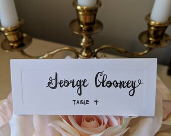HAND-LETTERED white place cards, rustic wedding, baby shower, bridal shower, dinner party
