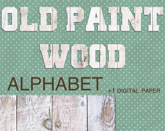 Digital Old Paint Wood Alphabet for scrapbooking, Papercrafts, Decor, Fabric, Pillow, Tea Towel, Printable Lettering, Instant Download, #18