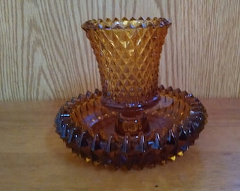 Amber Glass Candle Holder, Diamond Point Votive Candleholder