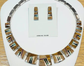 Native American Multi-Stone Inlay Necklace Set by Calvin Begay