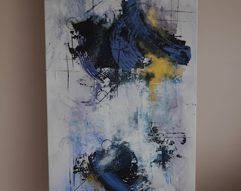 Blue and gold abstract canvas