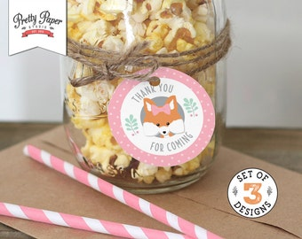 Girl Woodland Favor Tags // INSTANT DOWNLOAD // Thank You Tags // Fox Birthday Party Decor // Mint and Pink // Digital Printable BP02