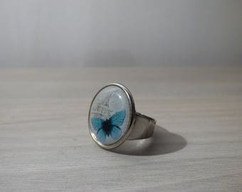METAL BUTTERFLY VINTAGE TURQUOISE RING