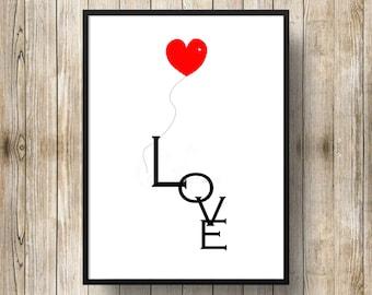 I love you heart balloon print, digital print , printable wall hanging