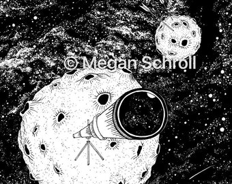 "Giclee Print. ""Significant Insignificance"" 10x12 Telescope planet Galaxy pen drawing"