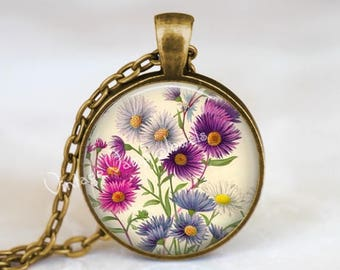 ASTER Necklace,  Aster Pendant, Aster Flower Necklace, Aster Jewelry, Asters, Garden Necklace, Botanical Necklace