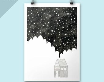 House in the Night / Christmas art print / A4 print / Art print / Stars Illustration / winter poster art / graphic art / Festive art print
