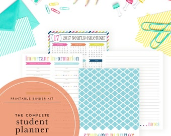 The Complete 2017-2018 Student Planner Kit - Includes homework planner, calendars, grade tracker, and more!