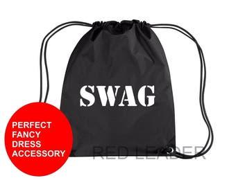 SWAG Printed Gymsac Bag Black Funny Thief Burglar Fancy Dress Costume Hen Party