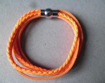 x 1 neon orange braided leather clasp bracelet silver magnetic metal 19 cm