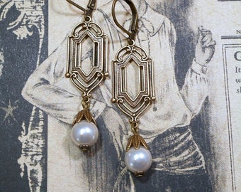 Art Deco Wedding Earrings - Pearl Earrings - Great Gatsby Jewelry - Miss Fisher Earrings - 1920s Jewelry - Downton Abbey Style Jewelry