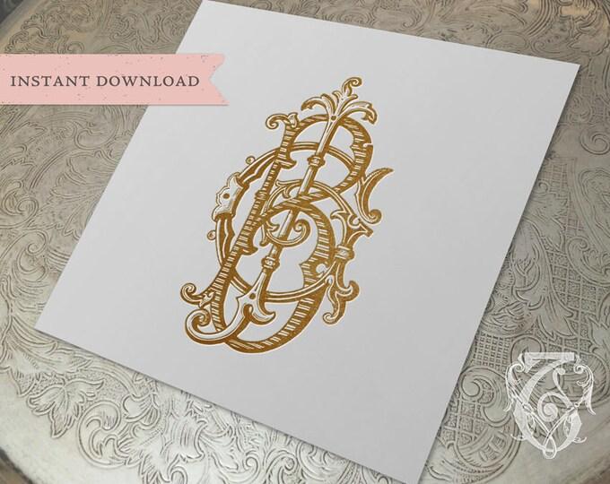 3 Initial Vintage Monogram BGJ JGB BJG Three Letter Wedding Monogram Digital Download B G J