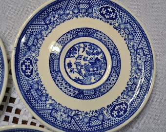 Vintage Blue Willow Saucer Set of 3 Unmarked Replacement Wall Decor Asian Theme PanchosPorch