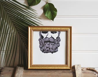 Bearded Man | Linoleum Print