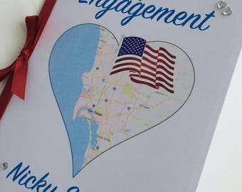 Engagement or Wedding Congratulations Card - Personalised with names and map location