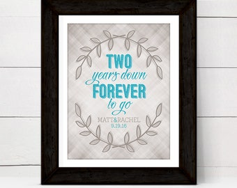 2 year anniversary gift for husband wife women cotton, two year anniversary gift for him her couple, personalized wall art print or canvas