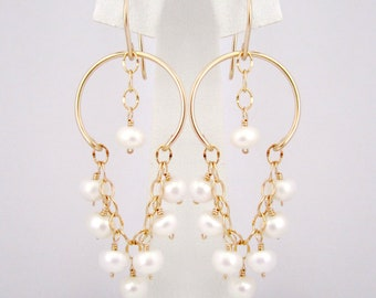 Ivory White Freshwater Pearl Long Chain Chandelier Earrings - Handmade Women's Jewelry, Mothers Day Gift