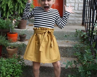The Suzy Skirt: Mustard Yellow Cotton Skirt with Tie Belt, Toddler and Girl's Sizes