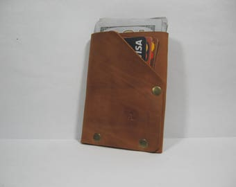 Small Leather Wallet Cardholder Doshch GROFA, brandy