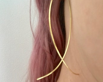 Dainty Gold Threader / Hoop Earrings
