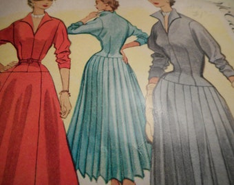 Vintage 1950's McCall's 9108 Dress with Flared or Pleated Skirt Sewing Pattern Size 14 Bust 32