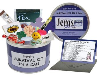 Friendship Survival Kit In A Can. Fun Gift & Card For A Special/Best Friend/Mate. Christmas, Birthday, Just Because OTHER COLOURS AVAILABLE.