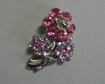 Vintage Rose & Lavender Flower Brooch