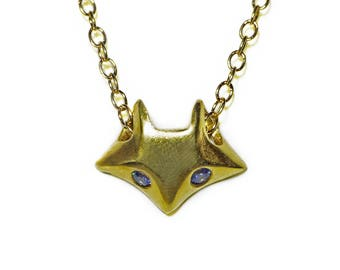Fox Necklace in 18K Gold Plate with Blue CZ's