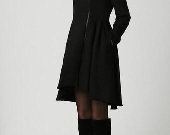 Winter Coat, Wool Coat, Black Wool Coat, Woman Coat, womens coat, warm winter Coat, Midi Coat, Made to Order, wool coat with hood (1121)