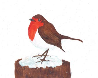 original watercolour robin painting with iridescent snowflakes