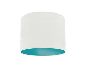 White Lamp Shade with Aqua Green Inner