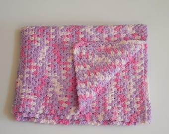 Crochet Baby Blanket! Extra Soft Handmade! Pink and Purple.